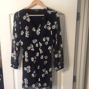 Express Black & White Floral Dress